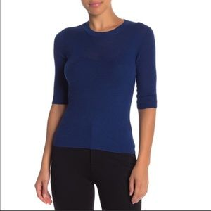 VINCE RIBBED WOOL ELBOW SLEEVE WOMEN TOP